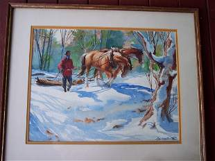 SIGNED JOHN WENTWORTH WINTER HORSES WATERCOLOR