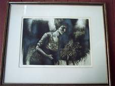 PENCIL SIGNED STONE LITHO TITLED BOUQUET II