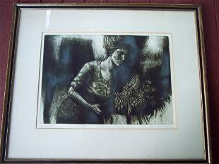 """PENCIL SIGNED STONE LITHO TITLED """"BOUQUET II"""""""