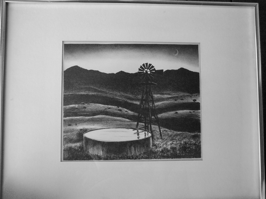 STONE LITHOGRAPH WESTERN WATER TOWER BY PETER HURD