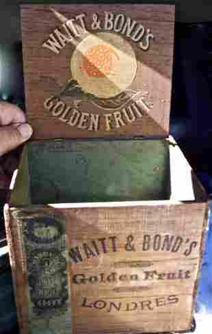 19 C DECORATED WOODEN BOX - WATTS & BONDS FRUIT