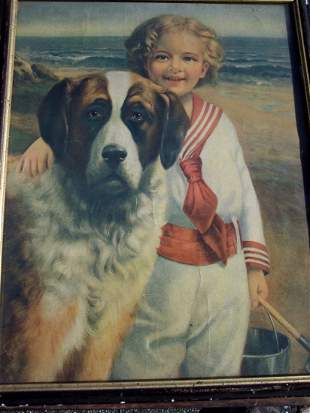 FINE AMERICAN LITHO YOUNG BOY WITH HIS DOG ON THE BEACH