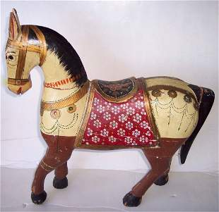 ANTIQUE AMERICAN HAND CARVED & PAINTED TOY HORSE