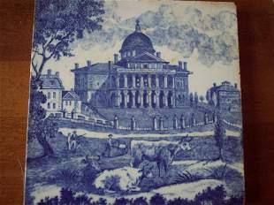 19TH C MINTON'S TILE OF BOSTON STATEHOUSE 1818