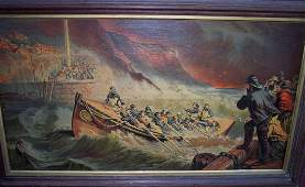 19TH C CHROMO LITHO OF LIFEBOATS RESCUING PEOPLE