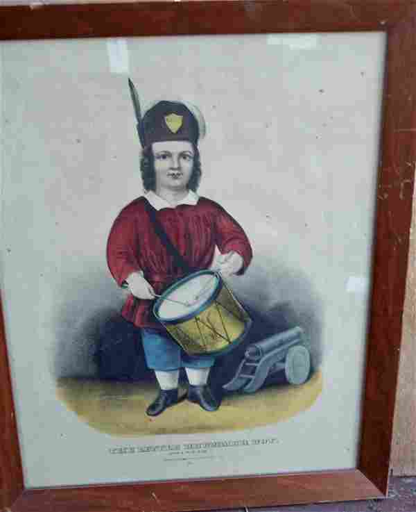 """CURRIER & IVES HAND COLORED """"THE LITTLE DRUMMER BOY"""""""