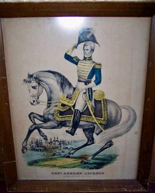 19TH C CURRIER & IVES LITHO OF GEN. ANDREW JACKSON