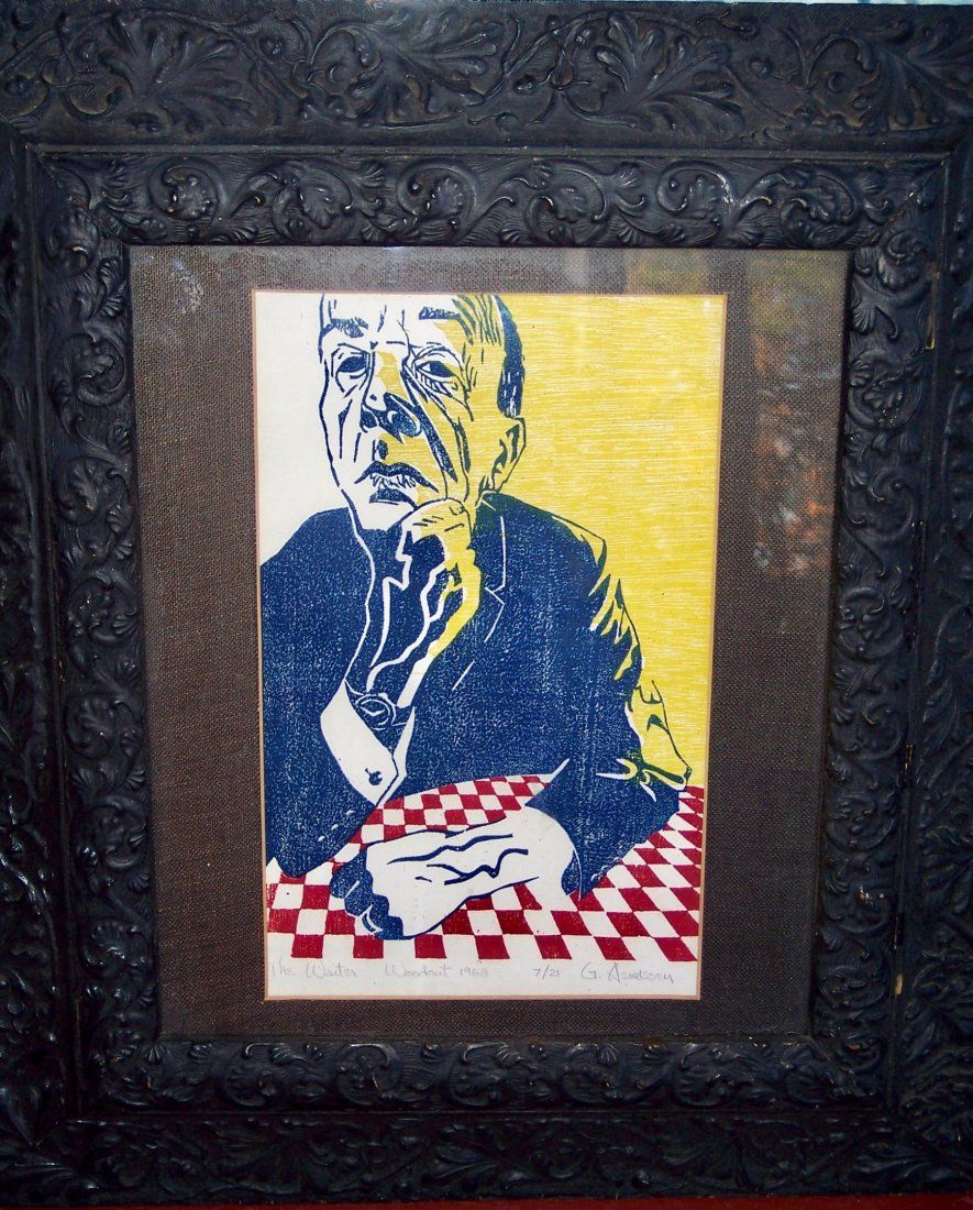 """VINTAGE WOOD CUT IN COLORS TITLED """"THE WAITER"""""""