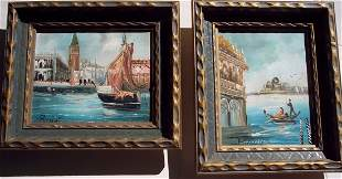 2 MATCHED OIL ON CANVAS PAINTINGS SIGNED PUCCINI