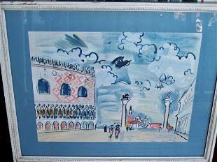 VINTAGE STONE LITHO IN COLORS BY RAOUL DUFY