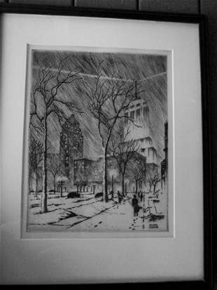 VINTAGE JAMES SWANN ETCHING AND DRYPOINT