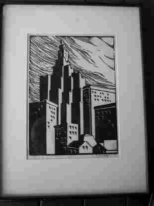 PENCIL SIGNED ANDREW SHUNNEY LITHO OF BUILDINGS