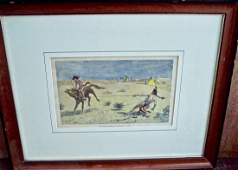 SIGNED IN PLATE FREDERIC REMMINGTON 1880 HAND COLORED
