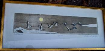 PENCILED SIG COLORED ETCHING RICHARD VOLPE WILD DUCKS
