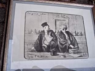 """PENCIL SIGNED LITHO H. DAUMIER: LES GERS DE JUSTICE"""""""