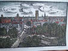 PENCIL SIG VERY FINE HAND COLORED CITY SCAPE WOODCUT