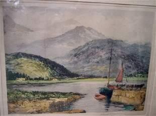 PENCIL SIG. CLAUDE H. ROWBOTHAM AQUATINT BRODICK ISLE