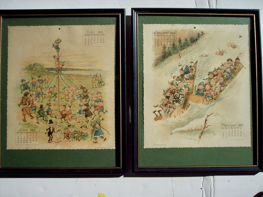 2 SIGNED PALMER COX 1898 BROWNIES CALENDARS