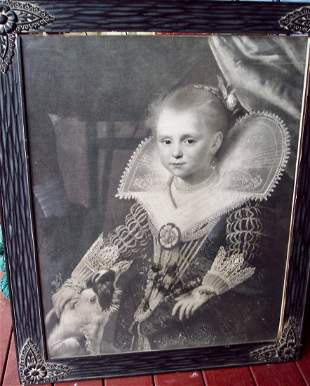 19THC ENGRAVING OF A YOUNG QUEEN VICTORIA CARVED FRAME