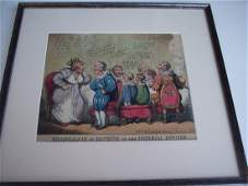 """1808 HAND COLORED ENGRAVING """"THE IMPERIAL DINNER"""""""