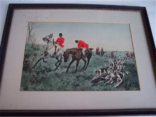 19THC ENGLISH HUNTING SCENE WITH HAND PAINTING