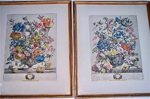 "2 H. FLETCHER ENGRAVINGS ""THE TWELVE MONTHS OF FLOWER"