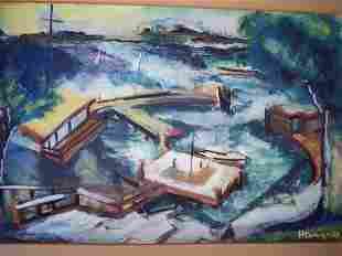 FINE WATERCOLOR MODERNIST PAINTING SIG. BY HENRIQUES