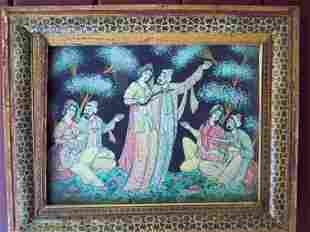 ANTIQUE PERSIAN REVERSE PAINTED ON GLASS PICNIC SCENE
