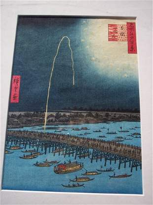 HIROSHIGE, UTAGAWA (ANDO) BLOCK PRINT FIREWORKS RYOGOKU