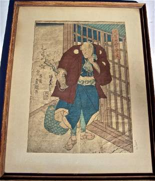 18THC JAPANESE WOODBLOCK IN COLORS SIGNED W/SEAL