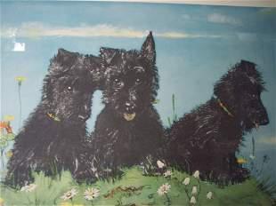 MURIEL DAWSON CHROMOLITHOGRAPH OF THREE SCOTTIES DOGS