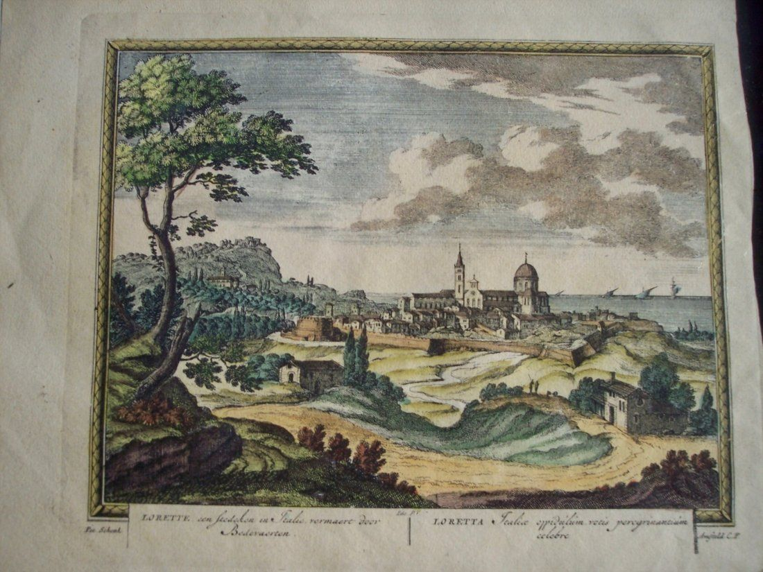 QUALITY EARLY 19THC HAND COLORED ENGRAVING COSTAL SCENE