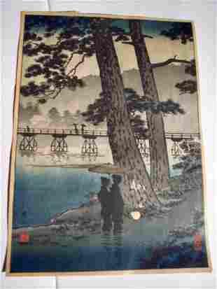 ANTIQUE JAPANESE BLOCK PRINT FIGURES, UMBRELLA, &BRIDGE