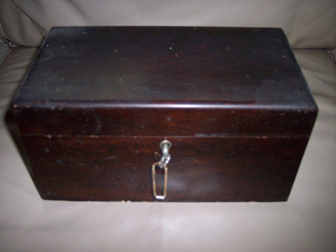 ANTIQUE MAHOGANY POCKER CHIP BOX WITH KEY