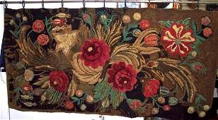 IMPORTANT NEW ENGLAND 19TH C FLORAL HOOKED RUG
