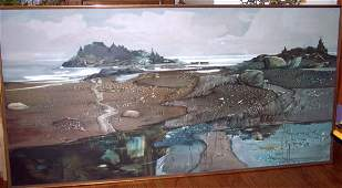"""7 FT   X 42"""" LAWRENCE SISSION OIL ON B  """"INDIAN RIVER"""""""