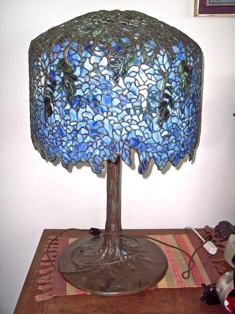STUDIO MADE & DESIGNED WYESTRIA LEADED GLASS TABLE LAMP