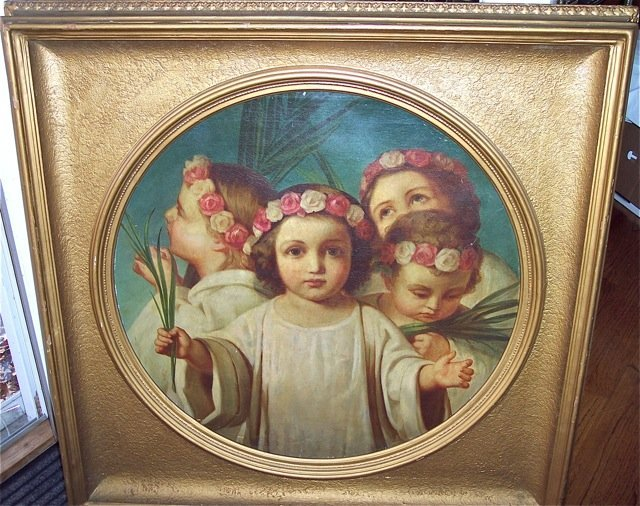 LARGE, FINE QUALITY OIL ON CANVAS OF CHILDREN