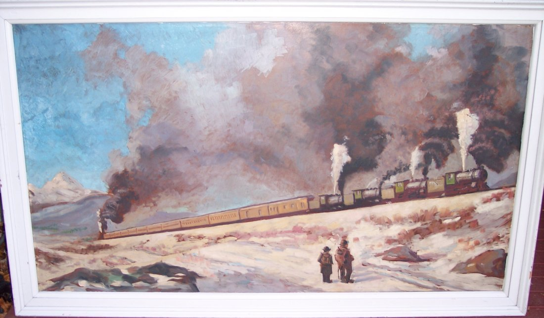 LARGE AMERICAN PAINTING OF HOBOS & HITCHING A TRAINS