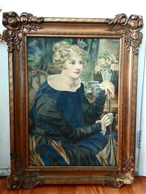 ANTIQUE EUROPEAN OIL ON CANVAS PORTRAIT OF A LADY
