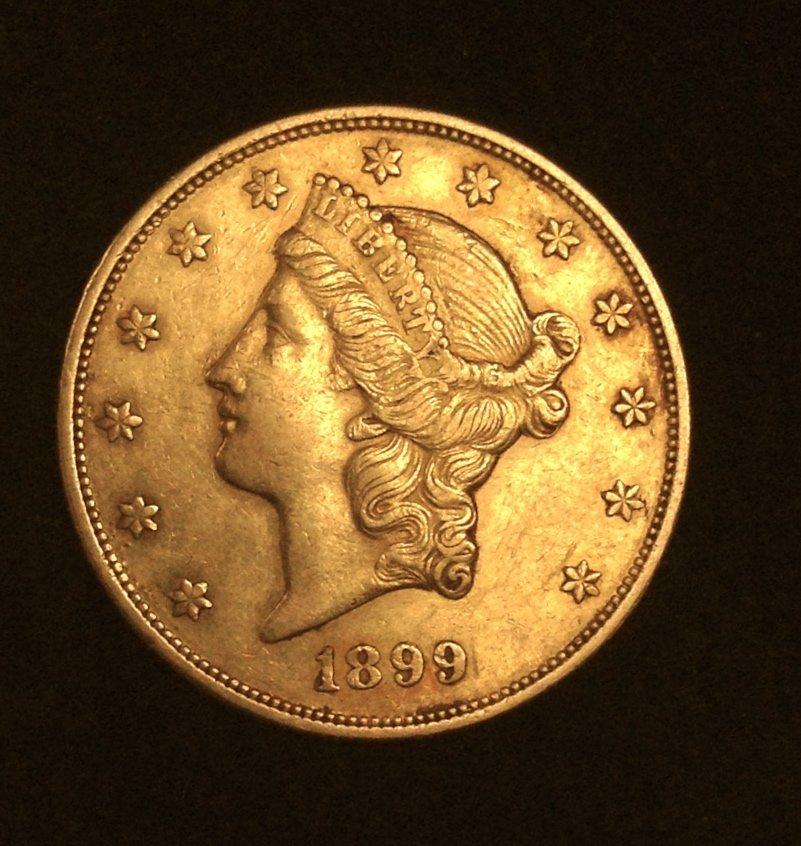 1899 Liberty Head $20 Double Eagle Gold Coin