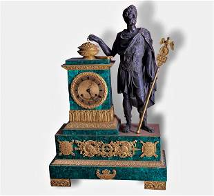 IMPORTANT MALACHITE CLOCK, 19th Century.