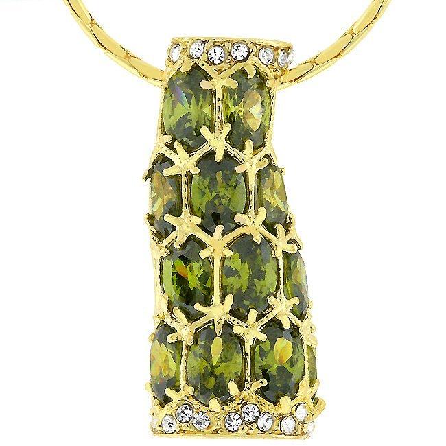 Contemporary Design Olive Green Peridot Necklace
