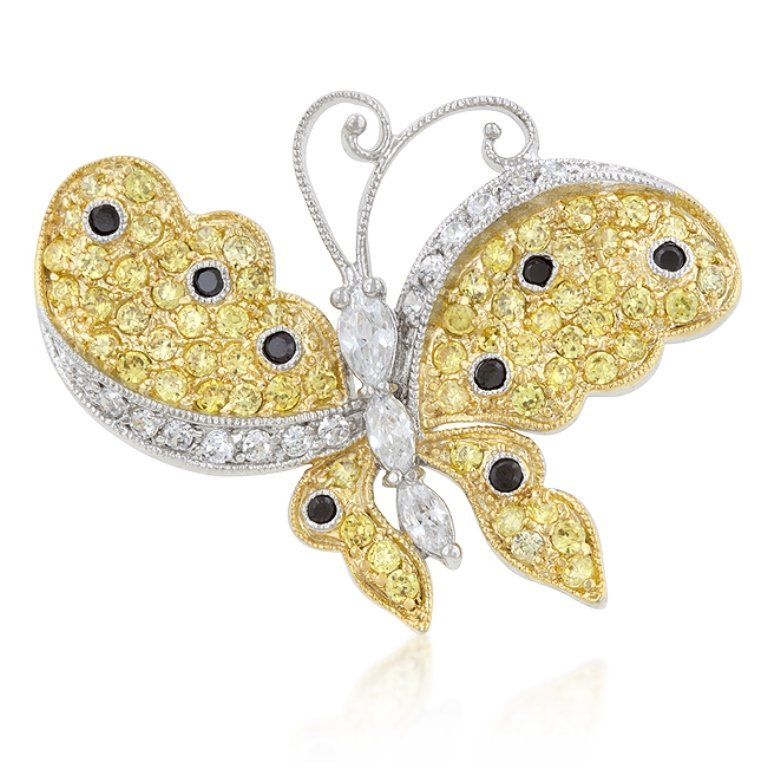 Golden Two-Tone Amethyst Butterfly Brooch