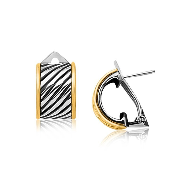 Classic Cable Style 18K Gold & Silver Earrings