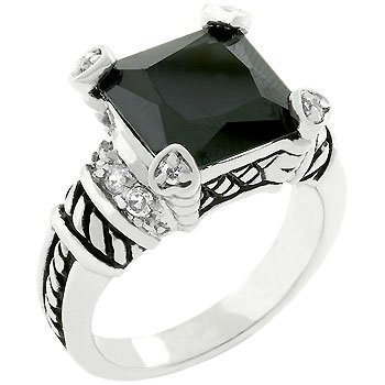 Black Onyx Cable Style Ring