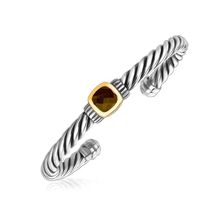 Topaz Gold & Silver Cable Cuff Bracelet