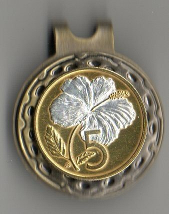 """Cook Islands 5 cent """"White Hibiscus†Golf Marker"""