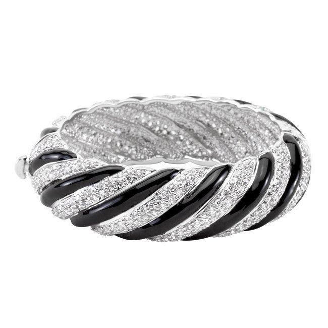 Stunning Designer Black & White Bangle Bracelet