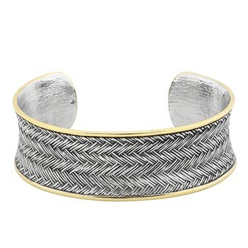 Fashionable Two Tone Gold & Silver Cuff Bracelet